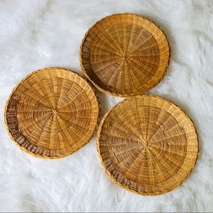 None Accents - SET Of 3 Boho Wicker Decorative Baskets